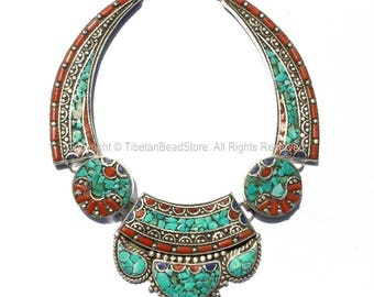 Ethnic Tibetan Necklace Bead Set with Lapis, Turquoise & Coral Inlays - DIY Necklace - DIY Fine Quality Tibetan Jewelry - N170