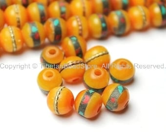 10 beads - 8mm Tibetan Amber Resin Beads with Turquoise & Coral Inlays - LPB16S-10