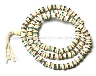108 beads - 10mm Tibetan White Bone Mala Prayer Beads with Turquoise & Copal Inlays- Tibetan White Bone Mala Beads - PB12