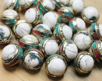 4 BEADS Ethnic Tibetan Naga Conch Shell Beads with Brass Rings, Turquoise & Coral Inlays - Artisan Handmade Beads - B1887-4