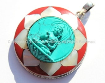 92.5 Sterling Silver & Hand Carved Turquoise Green Resin Buddha Pendant in Hand Carved Shell Pearl and Coral Inlaid Lotus - SS101