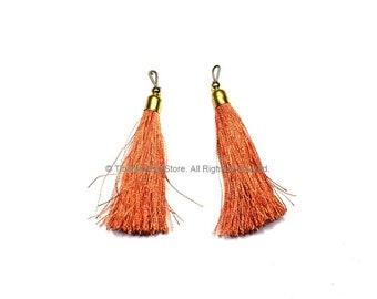 2 TASSELS Tangerine Silk Tassels with Gold Toned Brass Cap - Quality Boho Tassels Bag Tassels Earring Tassels - Craft Tassels - T219-2