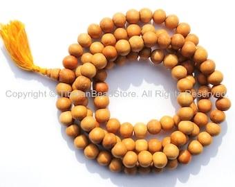 108 BEADS Tibetan Natural Wood Mala Prayer Beads 8mm-9mm - Tibetan Mala Beads - Mala Making Supplies - PB95