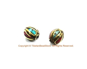 2 BEADS Turquoise, Coral, Brass Inlaid Beads - Tibetan Beads Inlaid Beads Tribal Beads - Handmade Beads - TibetanBeadStore - B3235F-2