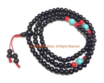 108 beads Tibetan Dark Wood Mala Prayer Beads with Spacer Beads 8mm - Tibetan Mala Beads - TibetanBeadStore Mala Making Supplies - PB161