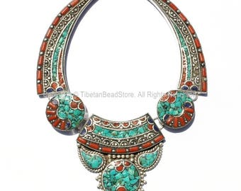 Ethnic Tibetan Necklace Bead Set with Lapis, Turquoise & Coral Inlays - DIY Necklace - Ethnic Tribal Tibetan Jewelry - N151