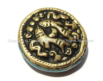 1 Bead - Large Tibetan Repousse Brass Auspicious Double Fish Round Disc Shape Bead with Turquoise Side Inlays -  B2240-1