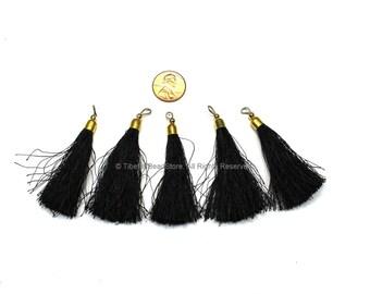 2 TASSELS Black Silk Tassels with Gold Toned Brass Cap - Quality Boho Tassels Bag Tassels Earring Tassels - Craft Tassels - T223-2