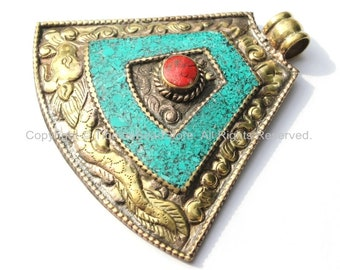 LARGE Ethnic Tibetan Brass Tribal Style Pendant with Repousse Dragon, Floral Details, Turquoise, Coral Inlays - Tibetan Jewelry - WM5531
