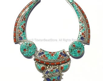 Ethnic Tibetan Necklace Bead Set with Lapis, Turquoise & Coral Inlays - DIY Necklace - DIY Fine Quality Tibetan Jewelry - N158