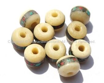 10 BEADS 9-10mm  Size Tibetan White Bone Beads with Turquoise, Coral & Metal Inlays - Nepal Tibetan Beads - Mala Making Supplies - LPB12-10