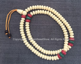 Tibetan White Resin Mala Prayer Beads - 108 Beads with Coral, Turquoise Colored Spacers - Rosary Mala Prayer Bead Supplies - PB210