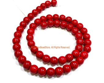 8mm Red Color Round Beads - 1 STRAND Red Coral Color Beads - 15 Inches - Approx 55 Beads Per Strand - Jewelry Making Supplies - GM99