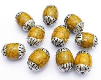 10 BEADS Tibetan Yellow Crackle Resin Beads with Tibetan Silver Caps - Ethnic Nepal Tibetan Beads - B955