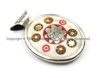 Nepal Tibetan Reversible Sun & Double Fish Bone Pendant with Metal Inlays - Boho Ethnic Nepal Tibetan Pendant- Handmade Jewelry - WM5911