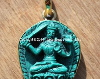 Tibetan Green Manjushri Buddha Pendant - 22mm x 37mm - Bodhisattva Manjusri Manjushri Buddha Pendant - Artisan Handmade Jewelry - WM3662