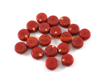 2 BEADS - Tibetan Red Coral Resin Beads - Ethnic Tribal Resin Coral Beads - Ethnic Beads - Nepalese Tibetan Beads - B3306-2