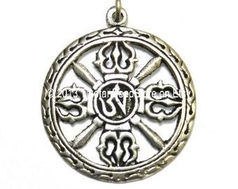 Tibetan Om & Double Vajra Pendant - Buddhist - Om Aum Ohm Mantra - Tibetan Buddhist Jewelry - WM2471