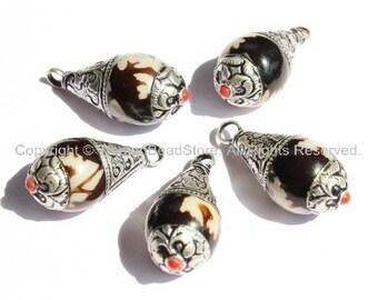 2 PENDANTS - Black & White Resin Dzi Tibetan Pendants with Tibetan Silver Caps - Handmade Ethnic Tibetan Pendant - WM2835-2