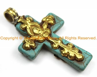Tibetan Reversible Turquoise Cross Pendant with Brass Repousse Hand Carved Lotus Floral Details -Tibetan Cross- Turquoise Cross- WM6137