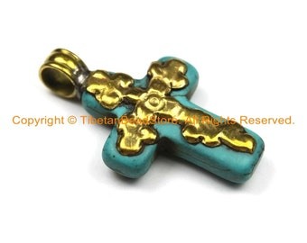 Small Tibetan Reversible Turquoise Cross Pendant with Brass Bail & Carved Floral Details - Ethnic Turquoise Cross- WM6308B