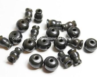 10 SETS - Tibetan Dark Black Bone Guru Bead Sets - 11-13mm - Black Bone 3 Hole Guru Beads & Caps - Prayer Beads Mala Supplies- GB45-10
