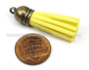 Mini Suede Tassels, Fringe Tassels, Tassel Charms, Jewelry Tassels, Small Tassels, Bronze Capped Fringe Tassels- TibetanBeadStore - T130-1