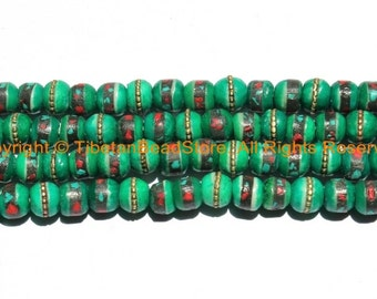 10 BEADS 8mm Tibetan Green Color Bone Beads with Turquoise, Coral & Metal Inlays - Ethnic Nepal Tibetan Green Bone Beads - LPB148S-10