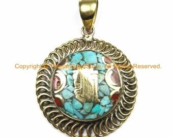 Tibetan Kalachakra Mantra Pendant with Brass, Turquoise & Coral Inlays - Kalachakra Pendant - Ethnic Nepal Tibetan Pendant - WM7103