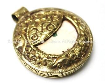 Ethnic Tibetan Naga Conch Shell with Repousse Tibetan Silver & Brass Pendant - 53mm x 61mm - Large Ethnic Tribal Naga Shell Pendant - WM3823