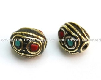 2 beads - Tibetan Oval Beads with Circles, Brass, Turquoise & Copal Coral Inlays - Ethnic Tibetan Beads - B1600-2