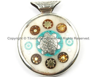 Nepal Tibetan Reversible Sun & Double Fish Bone Pendant with Metal Inlays - Boho Ethnic Nepal Tibetan Pendant- Handmade Jewelry - WM5910