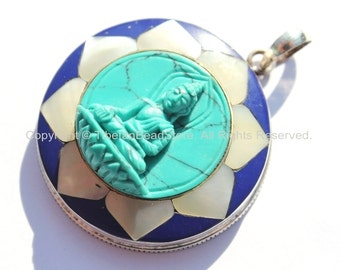 92.5 Sterling Silver & Hand Carved Turquoise Green Resin Buddha Pendant in Hand Carved Shell Pearl and Lapis Inlaid Lotus - SS96