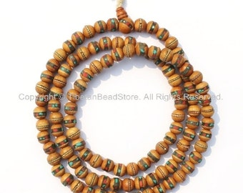 108 beads - 9-10mm Size Tibetan Prayer Beads - Wooden Mala Prayer Beads with Turquoise, Coral, Brass & Copper Inlays - PB15