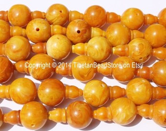 5 SETS Tibetan Amber Copal Resin Guru Bead Sets - Guru Beads & Bead Caps - 18mm - Mala Making Supplies - GB30-5