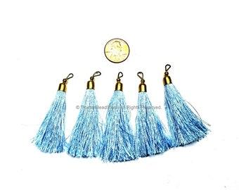 2 TASSELS Light Blue Silk Tassels with Gold Toned Brass Cap - Quality Boho Tassels Bag Tassels Earring Tassels - Craft Tassels - T207-2