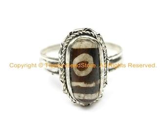 Ethnic Tibetan Dzi Ring (SIZE 8.25) Tibetan Resin Dzi Amulet Ring- Dzi Zee Unisex Ring- TibetanBeadStore Tibetan Beads & Jewelry- R250S-8.25