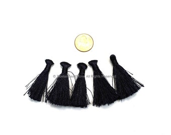 2 TASSELS Black Silk Tassels - Handmade Boho Tassels Bag Tassels Earring Tassels - Craft Tassels - T234-2