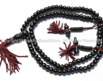 108 BEADS Tibetan Black Bone Mala Prayer Beads with Bell & Vajra Counters - Tibetan Bone Mala Beads - Mala Making Supplies - PB77