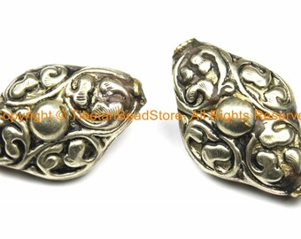 2 BEADS - LARGE Tibetan Repousse Floral Cross Shape Focal Pendant Tibetan Silver Metal Beads - Ethnic Tribal Large Focal Bead - B3122-2