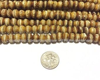 20 BEADS - Antiqued Bone Tibetan Beads with Brass Inlays -Ethnic Tibetan Beads - LPB88A-20