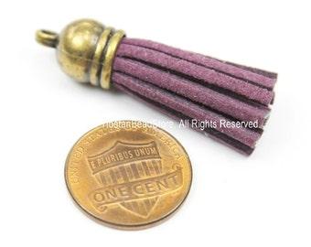 Mini Suede Tassels, Fringe Tassels, Tassel Charms, Jewelry Tassels, Small Tassels, Bronze Capped Fringe Tassels- TibetanBeadStore - T126-1