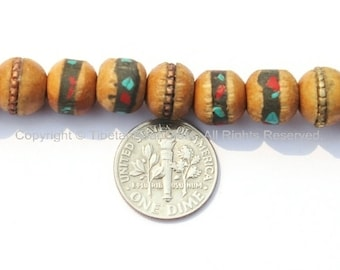 20 BEADS - 10mm Tibetan Wood Beads with Turquoise & Coral Inlays - Tibetan Inlaid Wood Beads - Tibetan Beads - LPB15-20