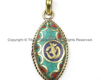 Nepal Tibetan OM Mantra Pendant with Brass, Lapis, Turquoise, Coral Inlay Om Pendant Nepal Pendant Tibetan Pendant Tibet Pendant - WM5916