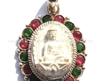 92.5 Sterling Silver & White Buddha Tibetan Pendant with Emerald, Ruby Inlays - Buddhist Buddha Sterling Silver Tibetan Jewelry - SS120