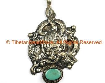 Ethnic Tribal Antique Look Repousse Tibetan Dragon Pendant with Turquoise Inlay - TibetanBeadStore - Handmade - Unisex Jewelry - WM7209