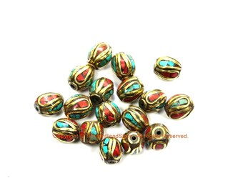 10 BEADS Turquoise, Coral, Brass Inlaid Beads - Tibetan Beads Inlaid Beads Tribal Beads - Handmade Beads - TibetanBeadStore - B3235F-10