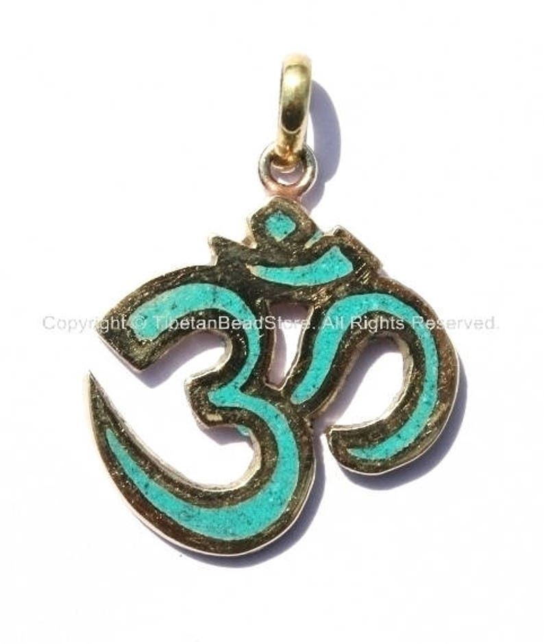 Sanskrit Om Pendant with Brass & Turquoise Inlay  Om Yoga image 0