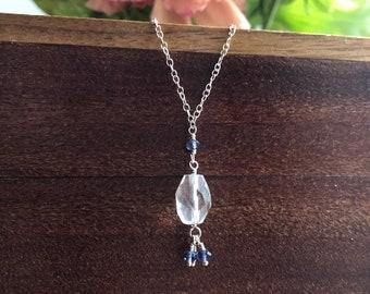 Quartz and iolite mini tassel necklace