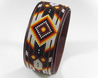 Copper Chevron Beaded Leather Cuff Bracelet